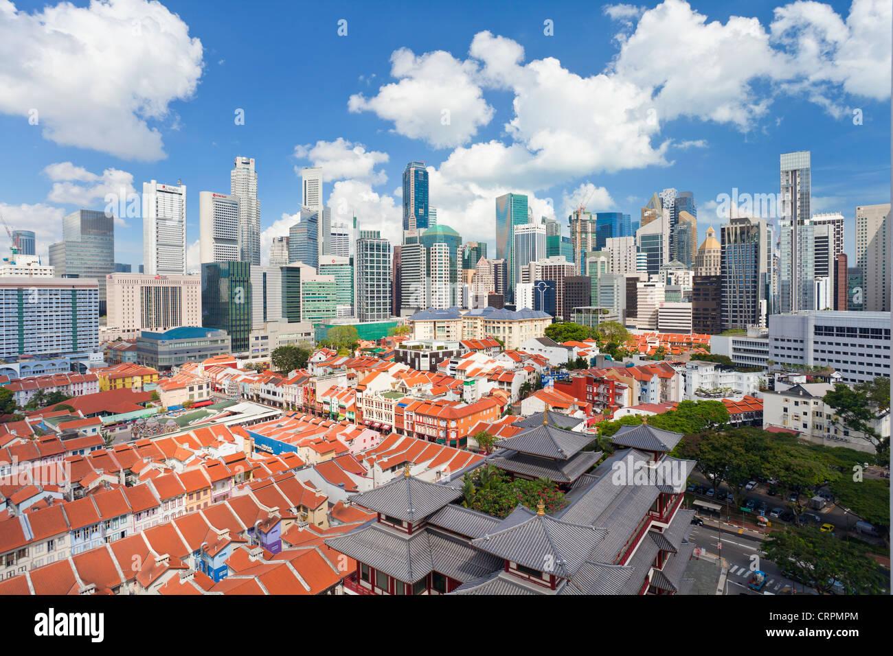Vista elevada sobre las tradicionales casas en Chinatown, Singapur, Sudeste de Asia, Asia Imagen De Stock