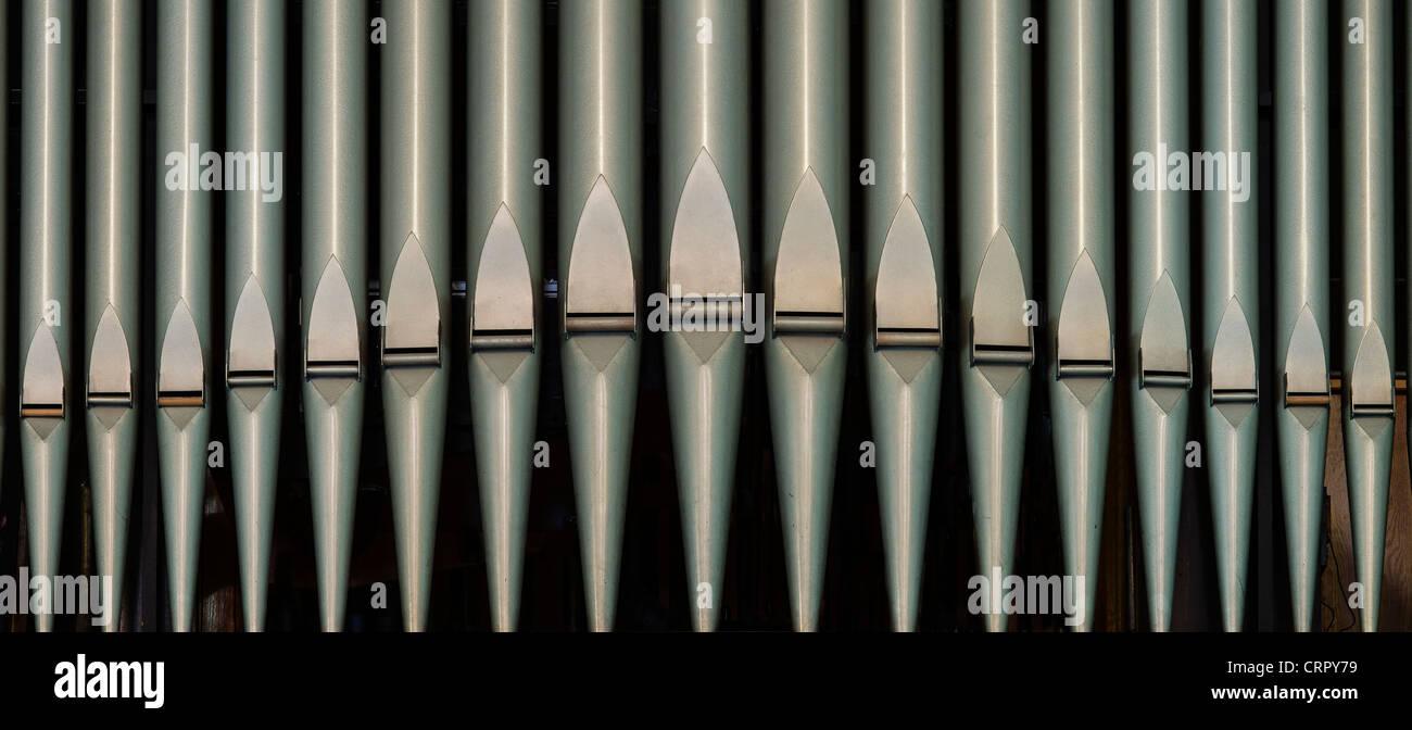 Detalle del tubo de órgano de iglesia. Imagen De Stock