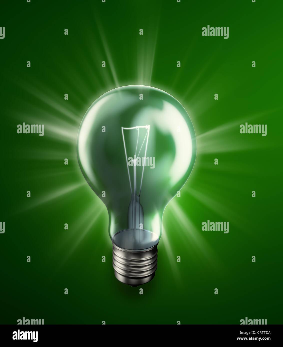Bombilla incandescente -la ilustración del concepto de energía Imagen De Stock