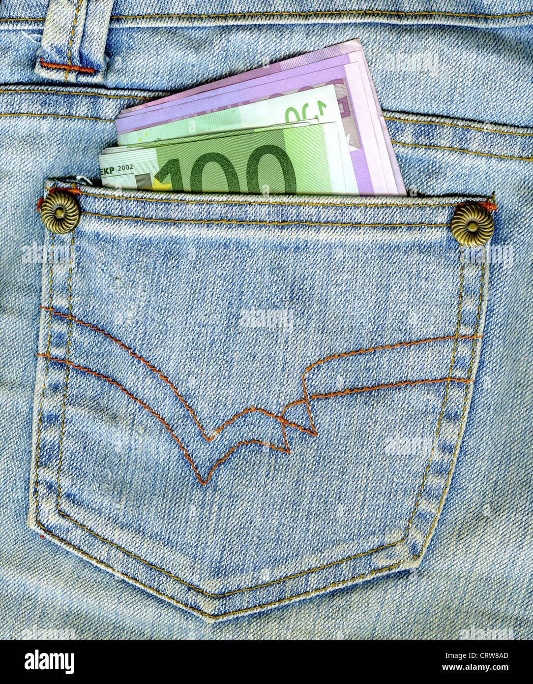 Dinero en el bolsillo Foto de stock
