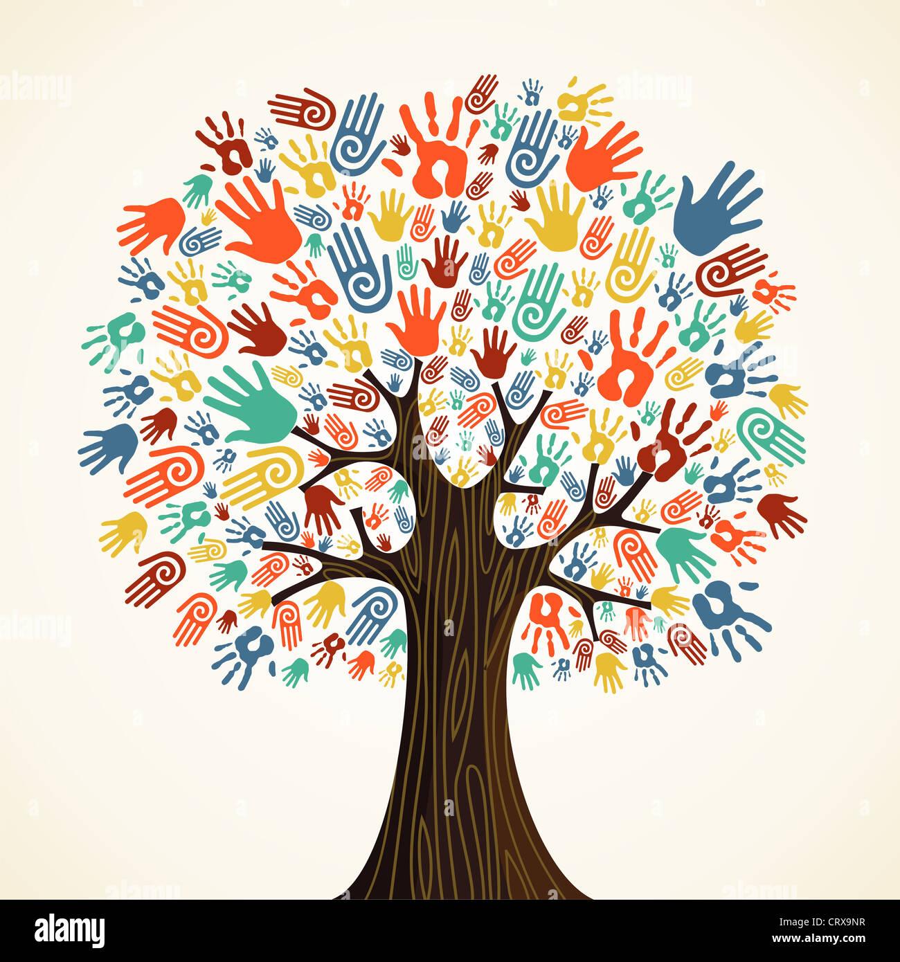 La diversidad de árboles aislados manos ilustración. Capas de archivo vectorial para una manipulación fácil y coloración Foto de stock