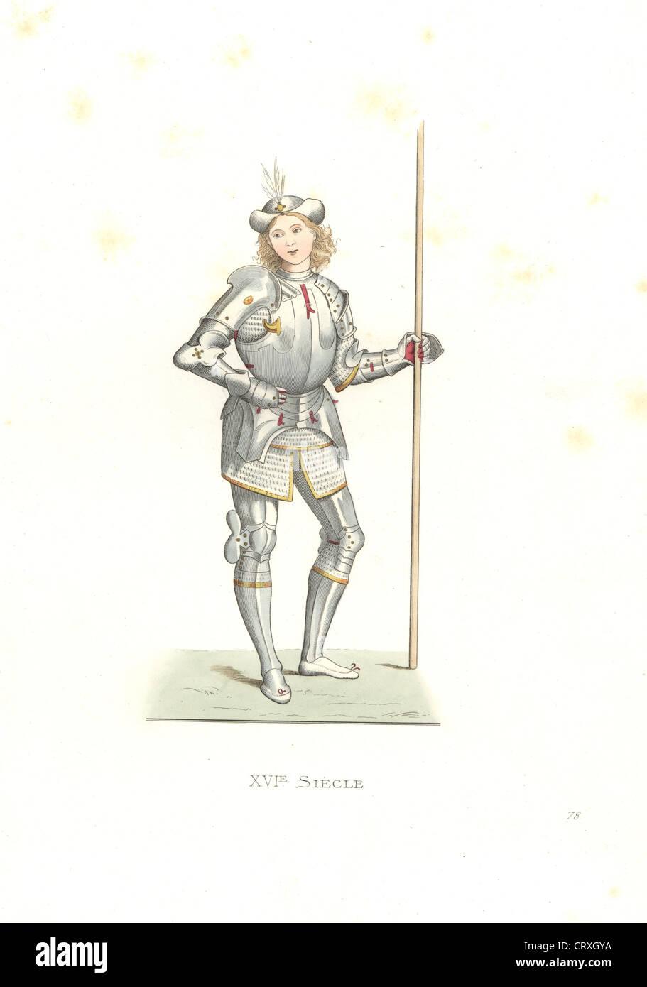 Hombre italiano de armas, del siglo XVI, después de una ilustración del artista italiano Bernardino di Benedetto, il Pinturicchio. Foto de stock