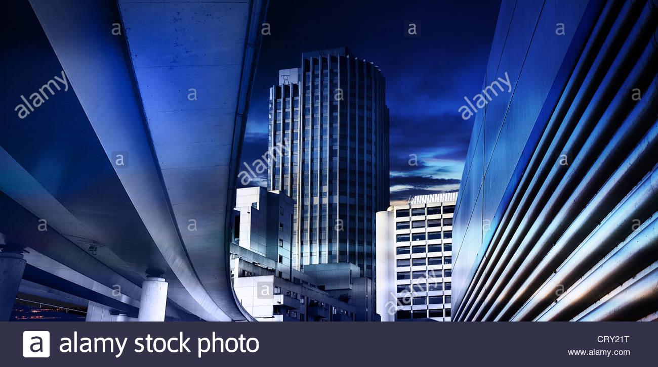 azul centro de la ciudad Imagen De Stock