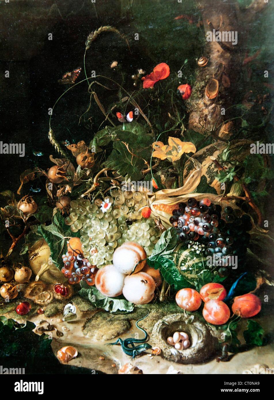 Bodegón con frutas y insectos - Rachel Ruysch Imagen De Stock