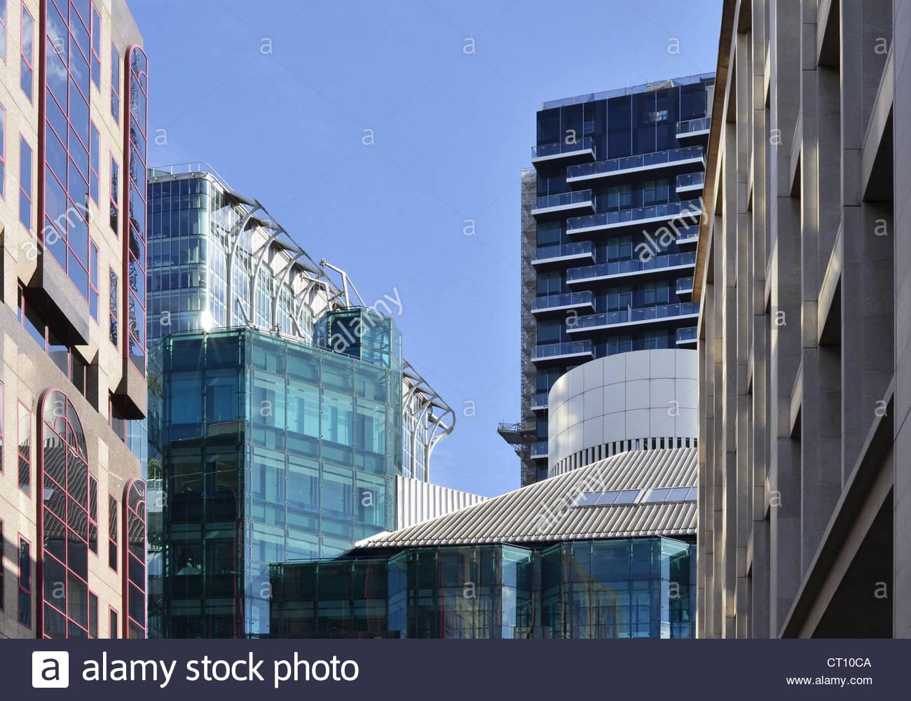 Modernos edificios de oficinas, Moorgate, Londres, Gran Bretaña. Foto de stock