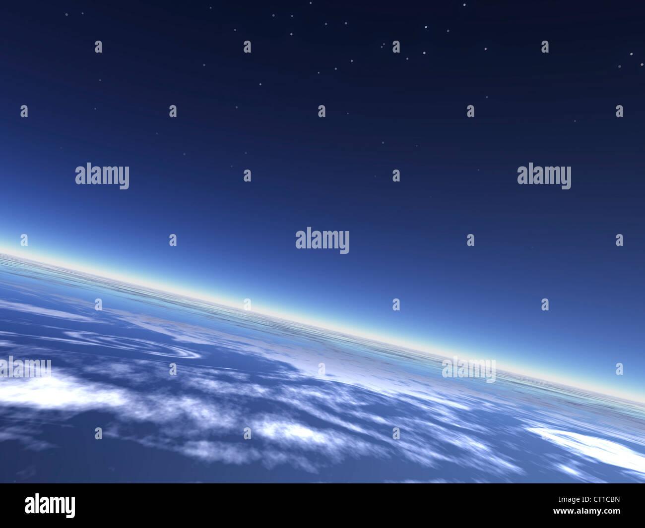 Planeta azul de la atmósfera de tierra y cielo nocturno - Erdatmosphäre mit Nachthimmel aus dem todos Imagen De Stock