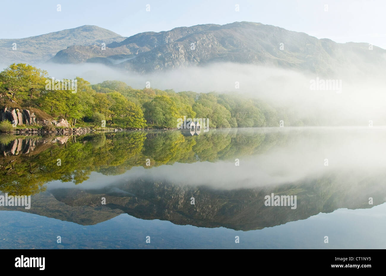 Las montañas por encima de una orilla arbolada misty dawn en Llyn Dinas lago en el Parque Nacional de Snowdonia Imagen De Stock