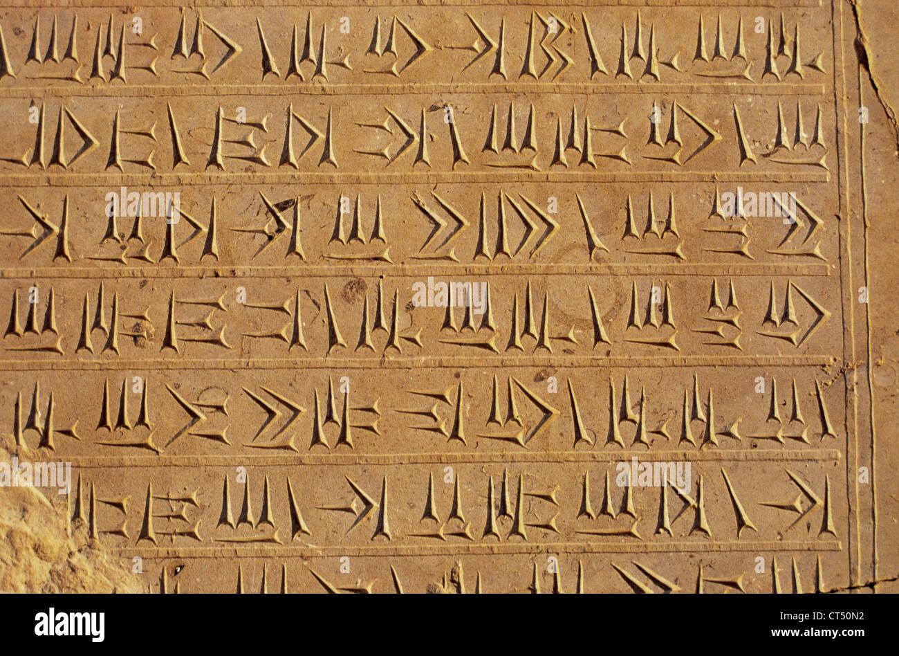 Imperio persa. Período aqueménida. Escritura cuneiforme en la pared del Palacio de Persépolis. Foto de stock
