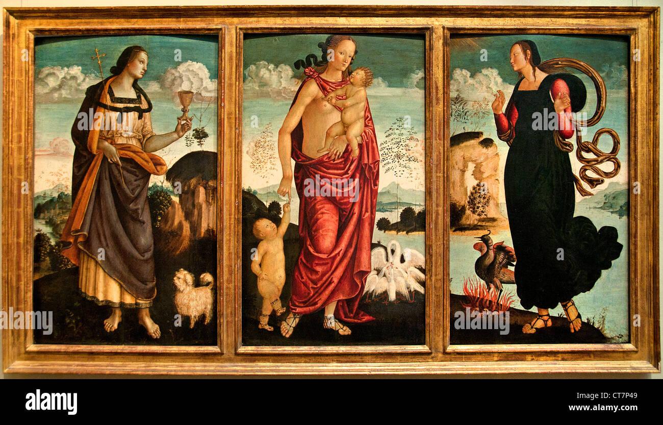Las virtudes teologales fe esperanza caridad Ubrian pintor italiano Italia 1500 Imagen De Stock