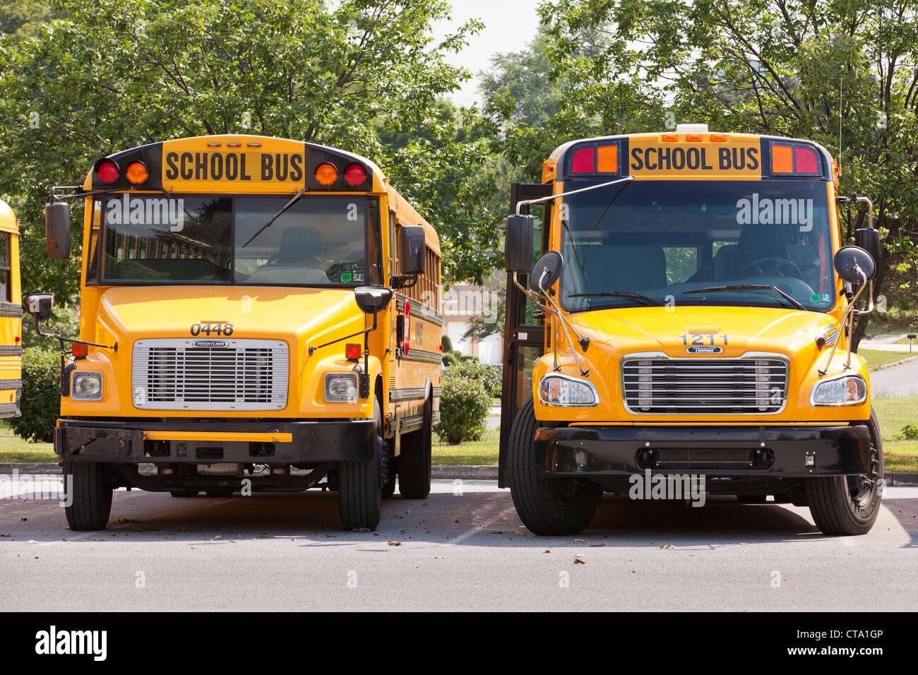 Autobuses escolares estacionados Imagen De Stock