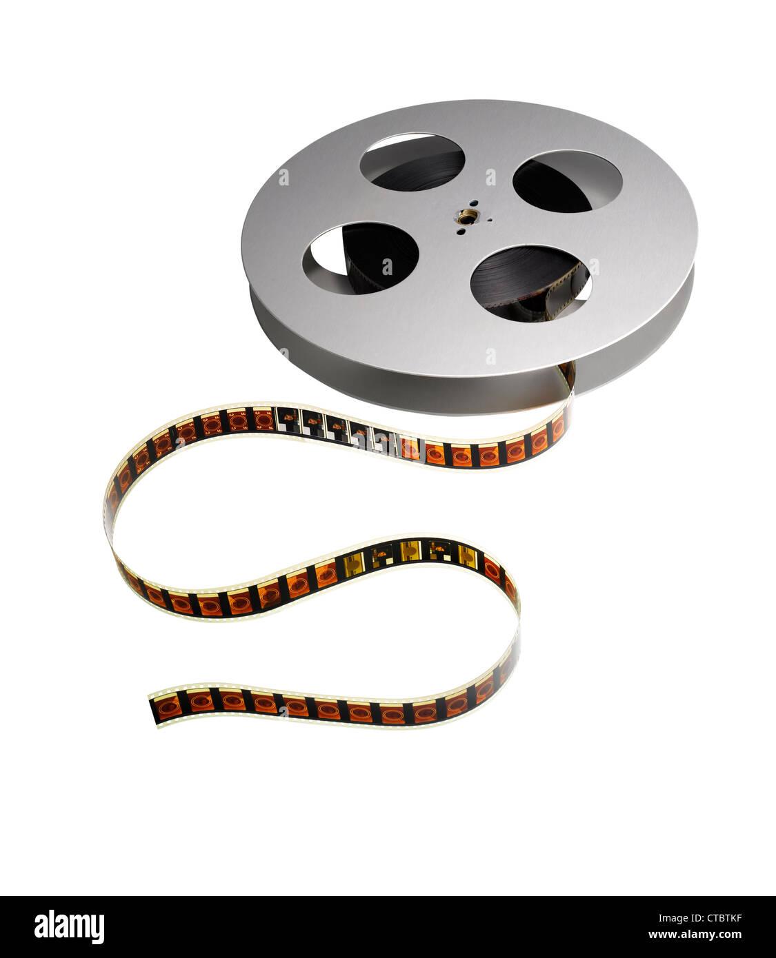 Un carrete de película tradicional de 35mm. Imagen De Stock