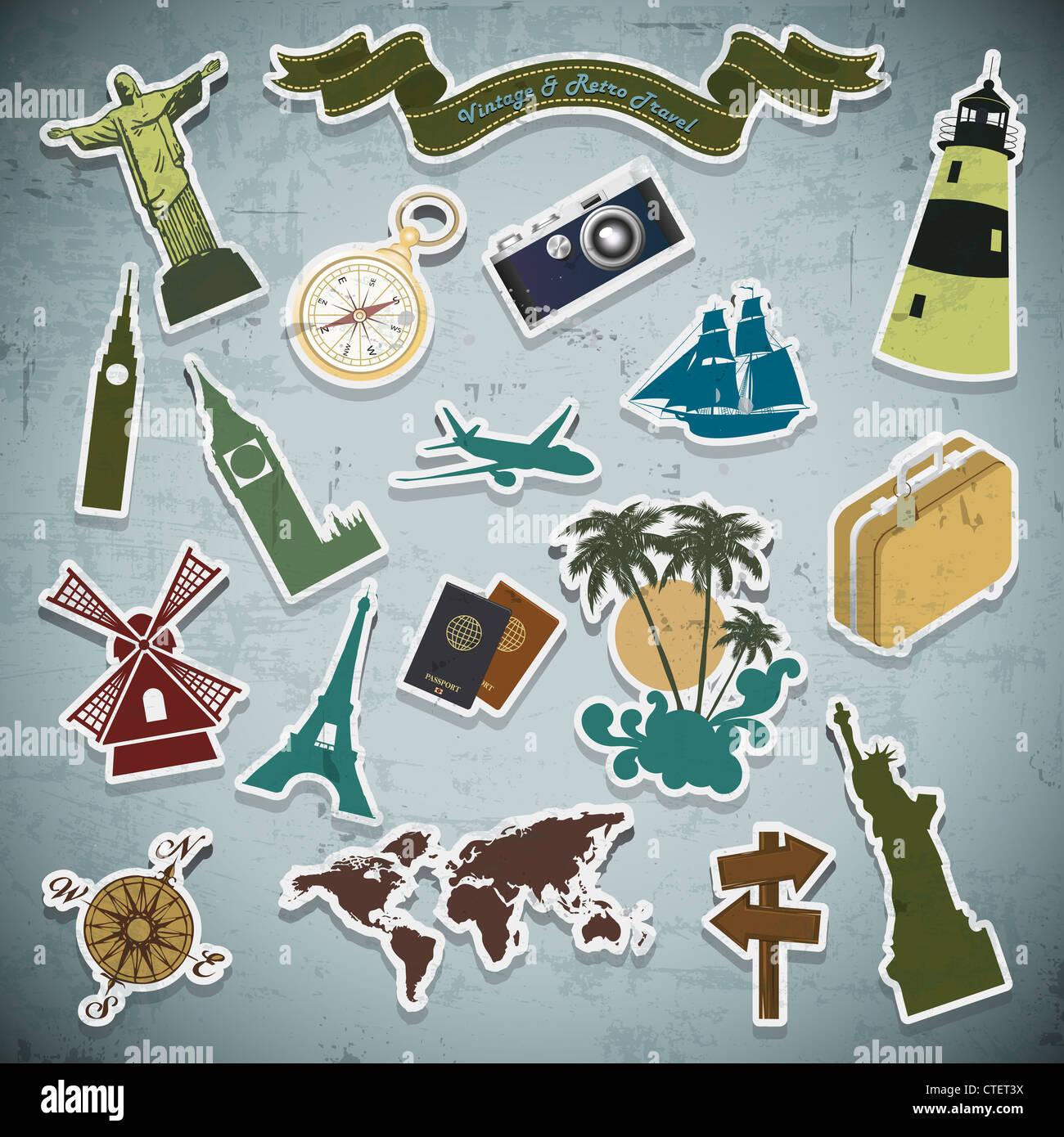 Vintage Retro vacaciones, vacaciones, viajes en grunge antecedentes Imagen De Stock