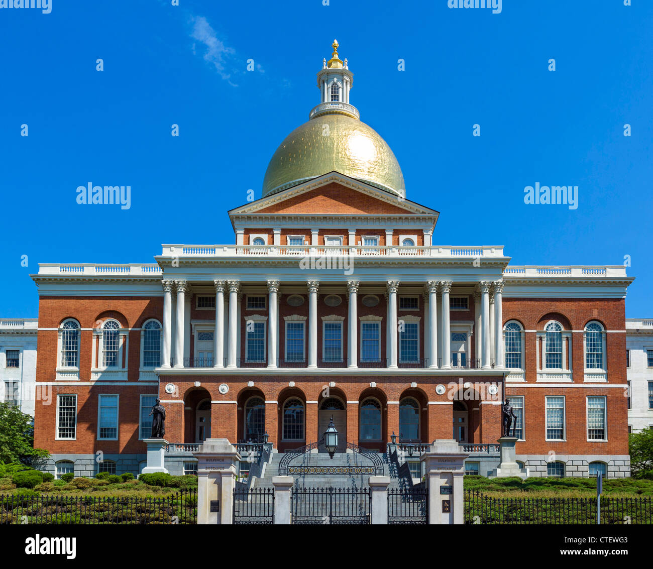 Casa del Estado de Massachusetts, Beacon Street, Boston, Massachusetts, EE.UU. Imagen De Stock
