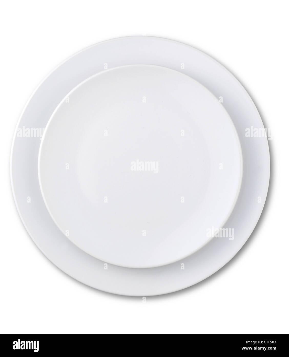 Una vista aérea de una placa vacío aislado en blanco con un trazado de recorte Imagen De Stock