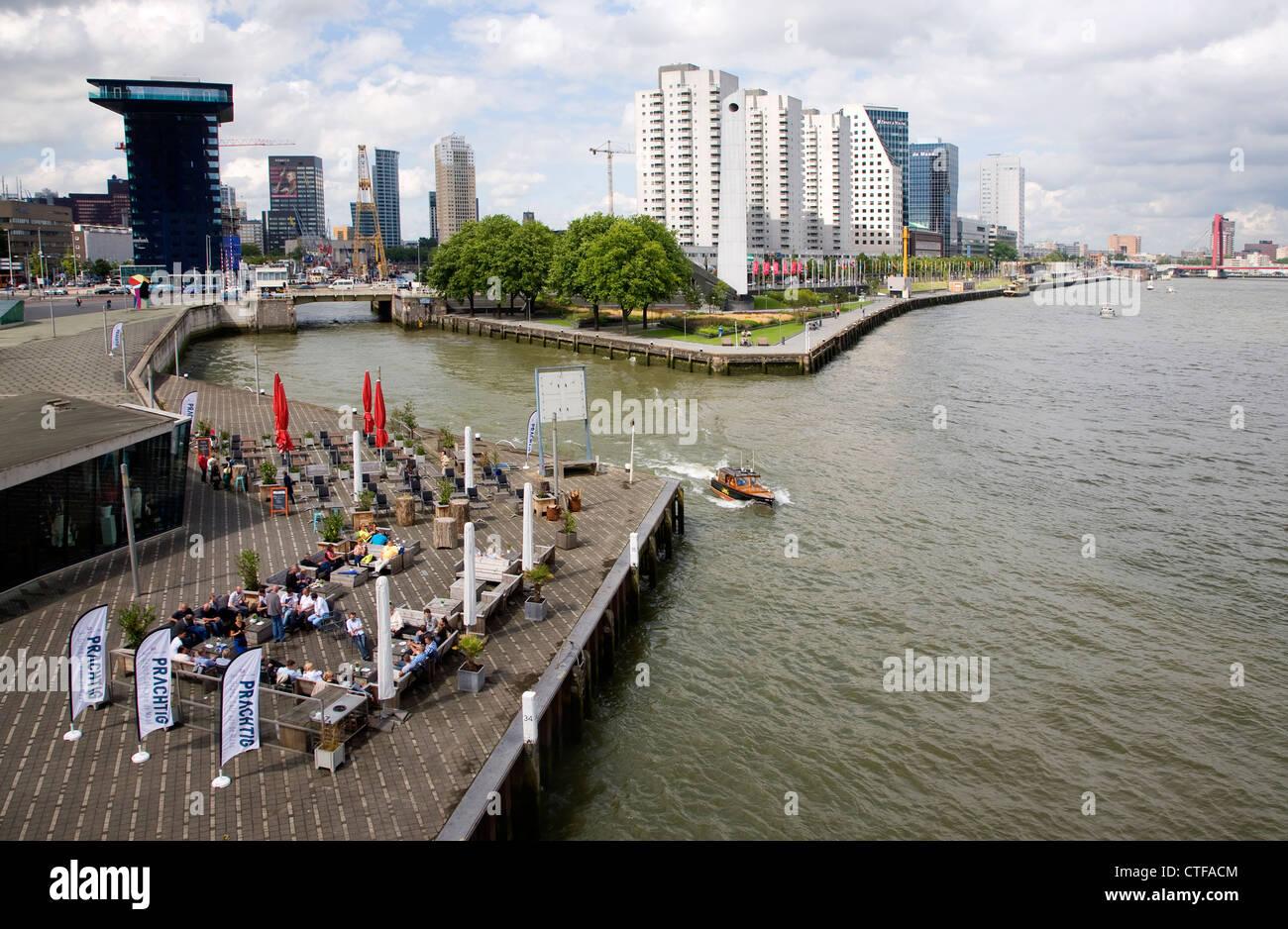 Costanera Río Maas Rotterdam, Países Bajos Imagen De Stock