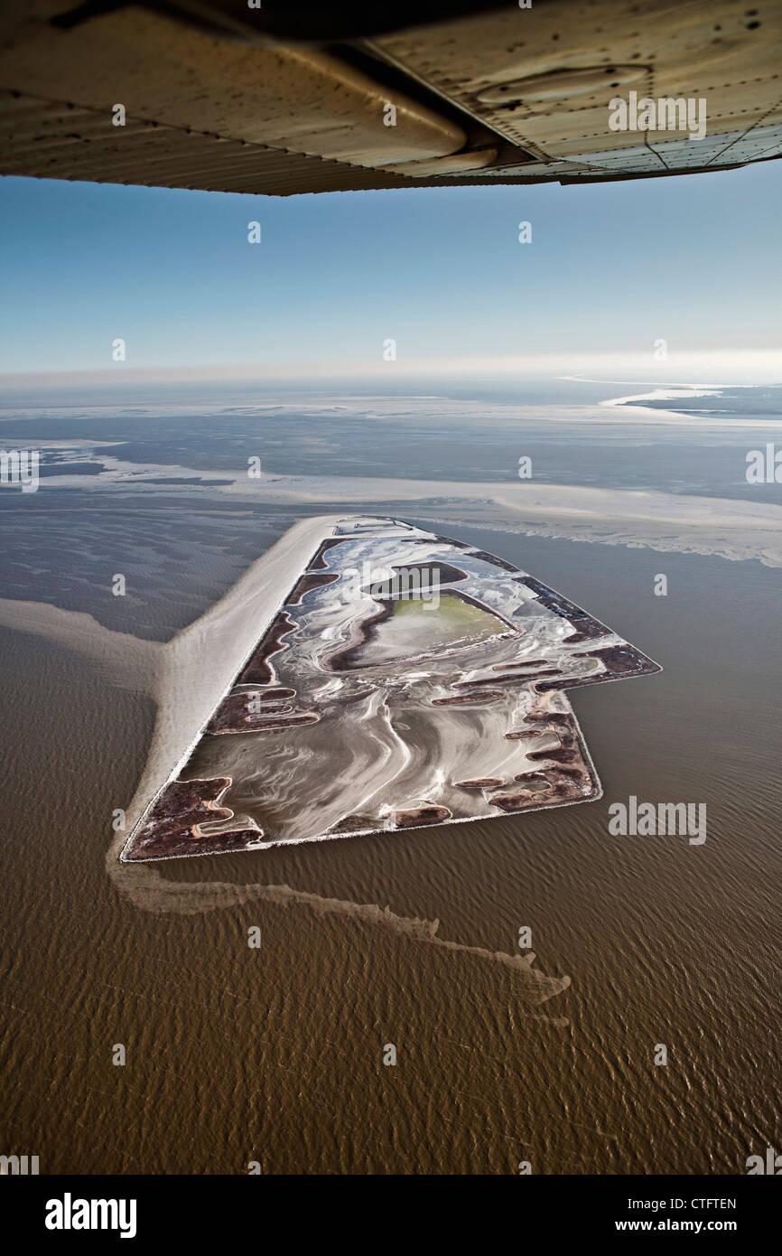 Los Países Bajos, Andijk, isla artificial llamado El Cojo, Comisión Forestal holandés. Antena. Foto de stock