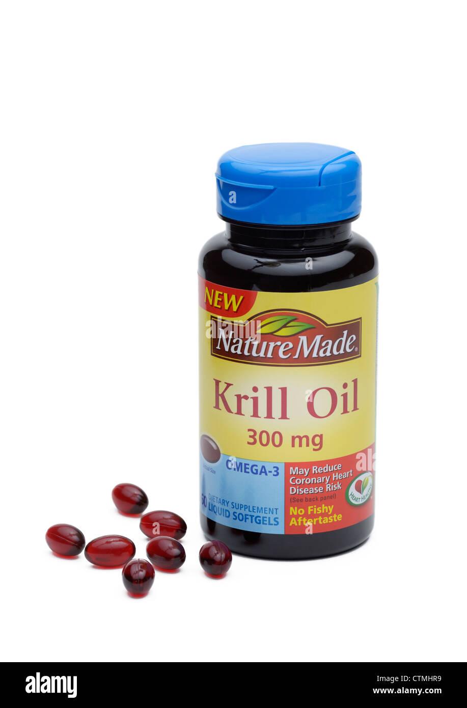 Pastillas de aceite de krill, una fuente suplementaria de ácidos grasos Omega-3 Foto de stock