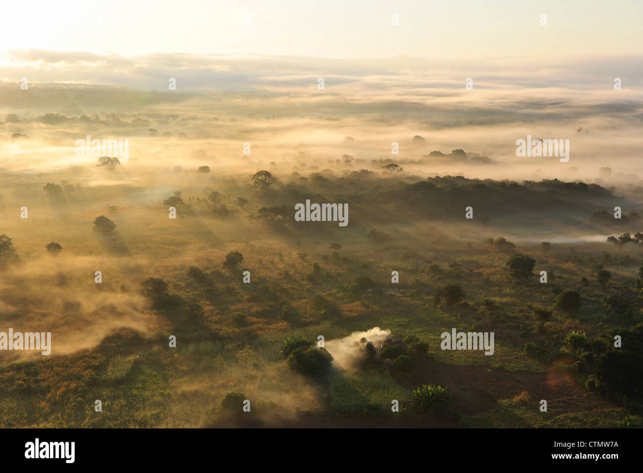 Amanecer sobre pradera salpicada con campos, invadiendo la bruma, Mozambique Central Foto de stock