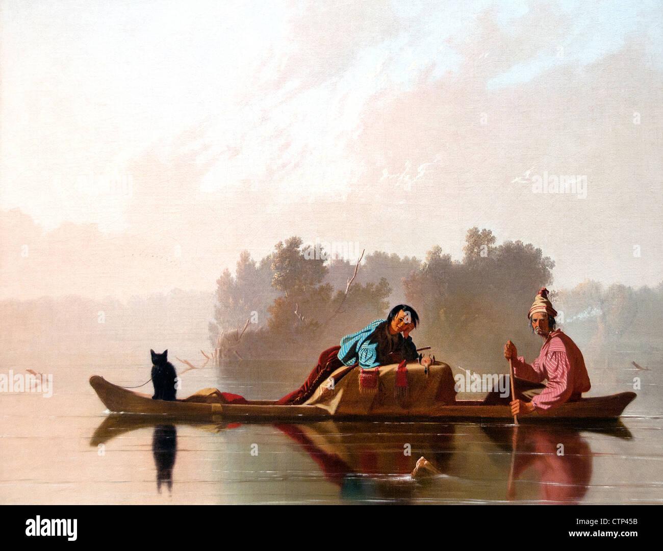 Los comerciantes de pieles descendiendo el Missouri 1845 George Caleb Bingham American Estados Unidos de América Imagen De Stock