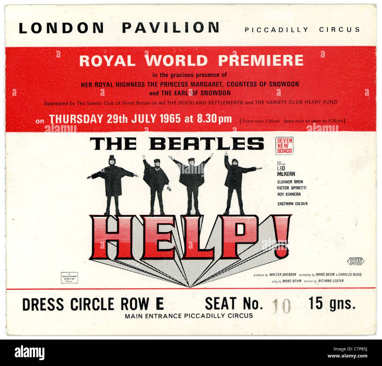 001362 - The Beatles Help! Royal World Premiere billete desde el Pabellón de Londres el 29 de julio de 1965 Imagen De Stock