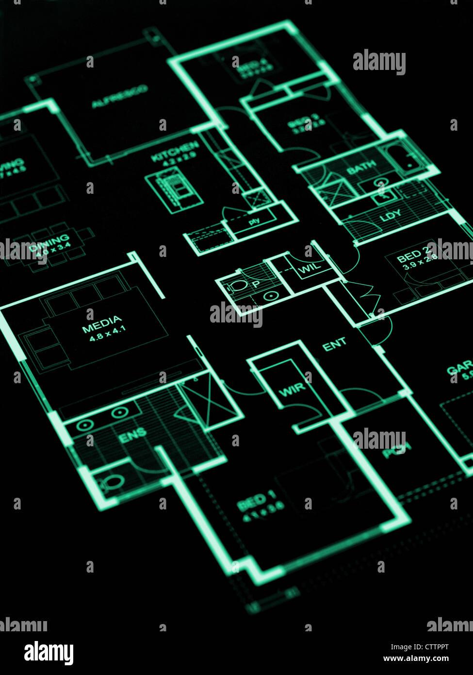 Los planes de la casa aislada sobre un fondo blanco. Imagen De Stock