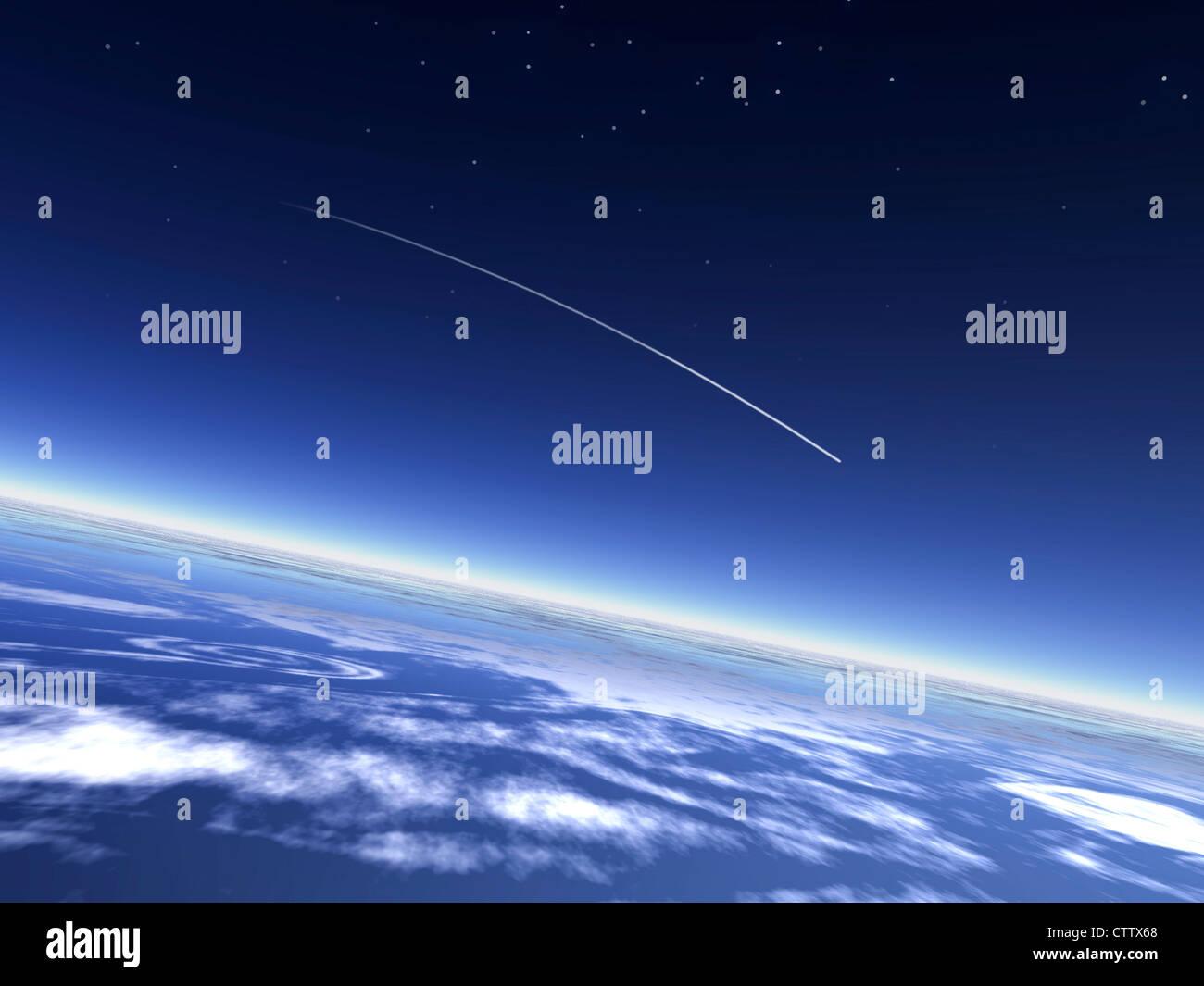 Estrella fugaz en la atmósfera - Sternschnuppe über der Erde vom todos aus gesehen Imagen De Stock