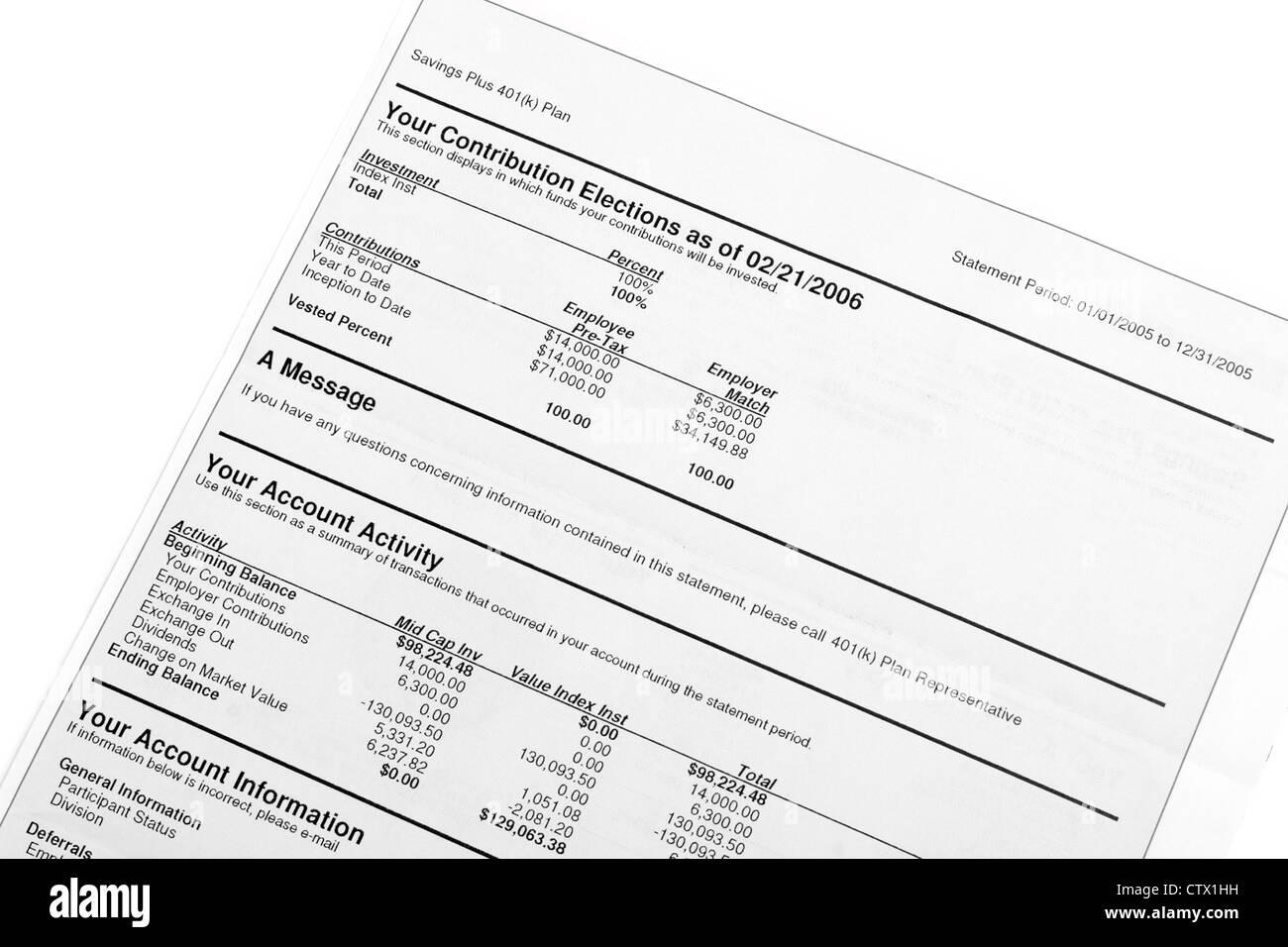 La jubilación 401(k) Plan: declaración detalles Foto de stock
