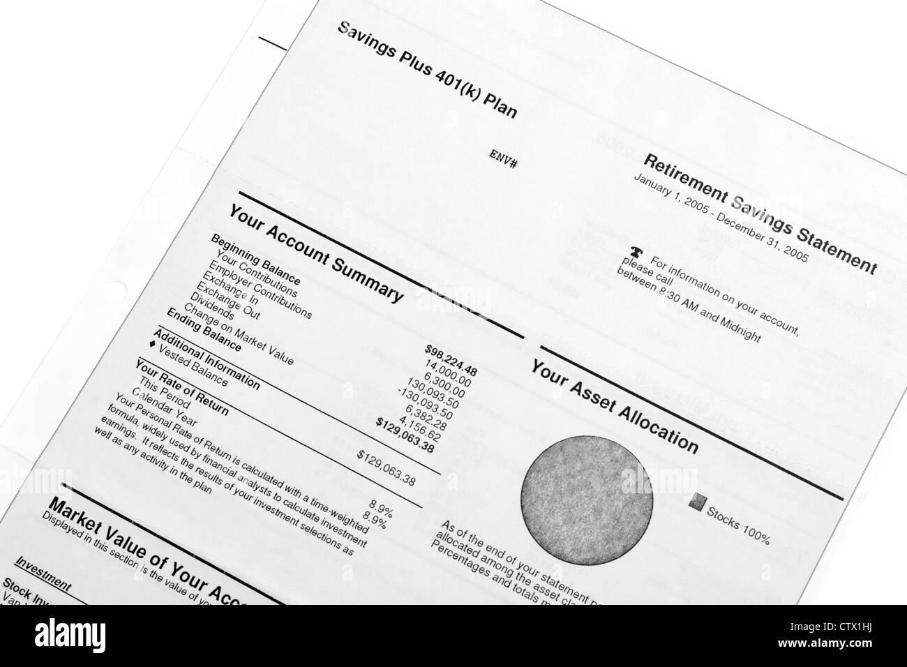 Ahorros e inversiones de jubilación - Resumen de estados de cuenta Imagen De Stock