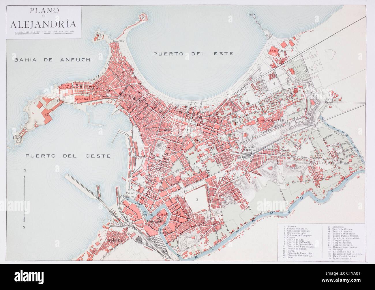 Plan de Alejandría, Egipto, en el siglo 20. Mapa editado en idioma español. Imagen De Stock