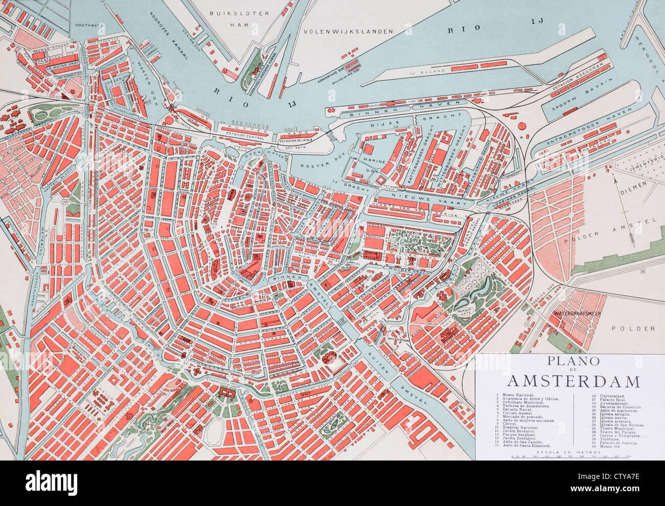 Plan de Ámsterdam, Holanda, a finales del siglo XX. Mapa editado en idioma español. Imagen De Stock