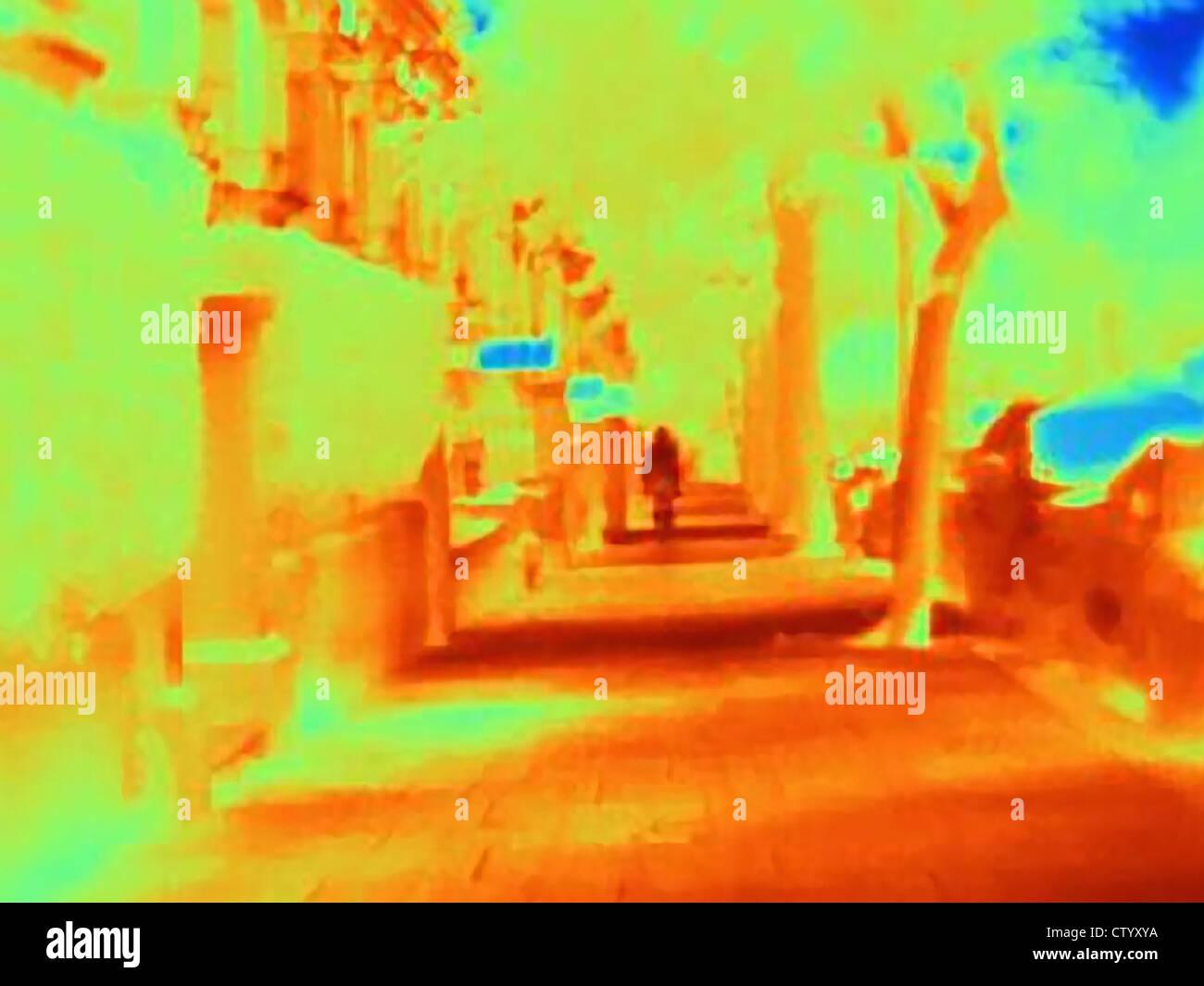Imagen térmica de las calles de la ciudad Foto de stock
