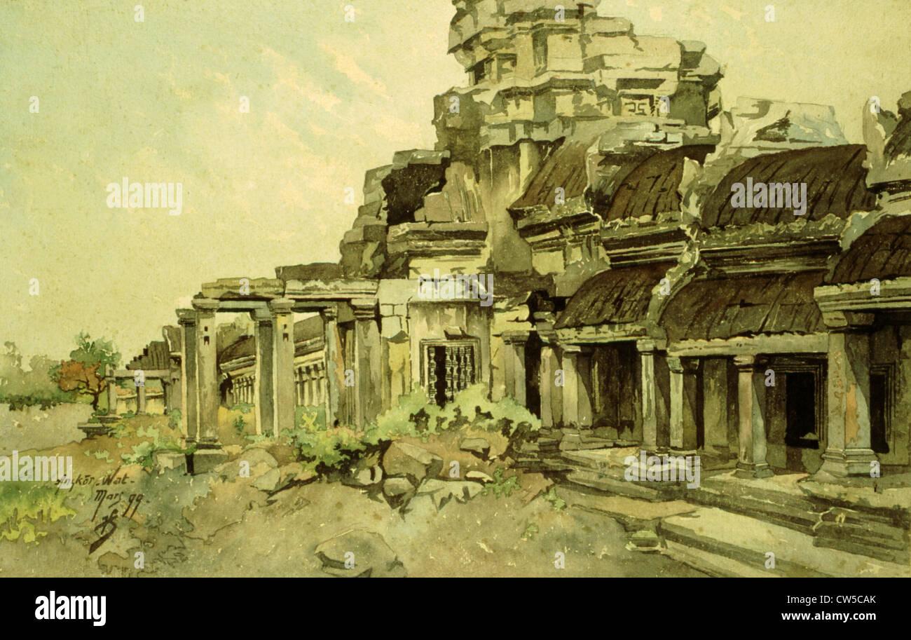 Courmaille, Angkor, acuarela Imagen De Stock