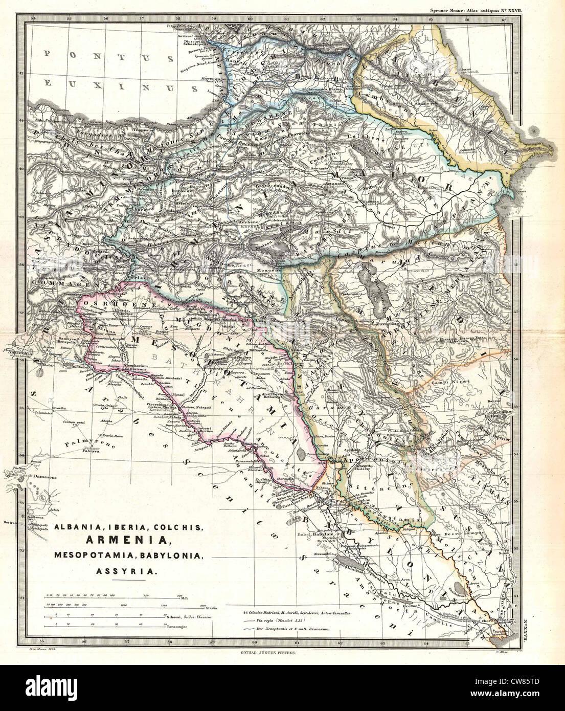 1965 Spruner Mapa del Cáucaso y el Iraq en la antigüedad Imagen De Stock