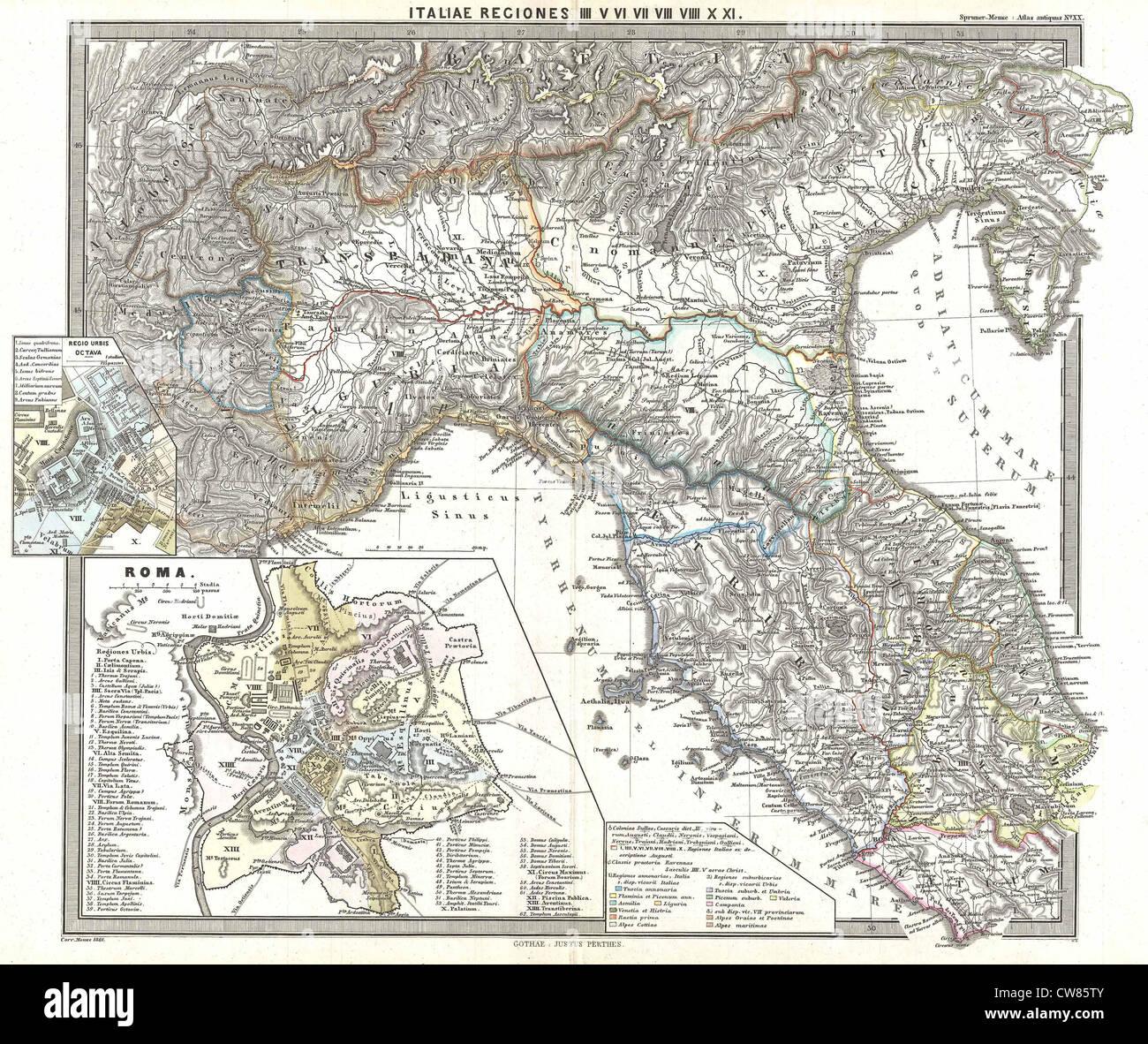 1865 Spruner Mapa del norte de Italia en la antigüedad Foto de stock