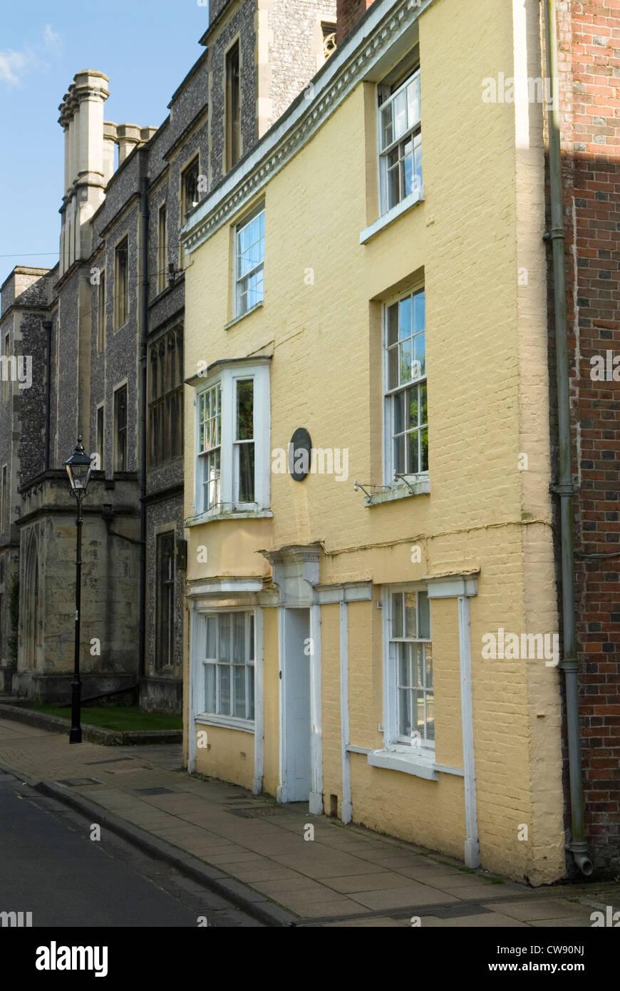 Jane Austen vivió y murió aquí, en esta casa el 18 de julio de 1817. College Street Winchester Hampshire. Imagen De Stock