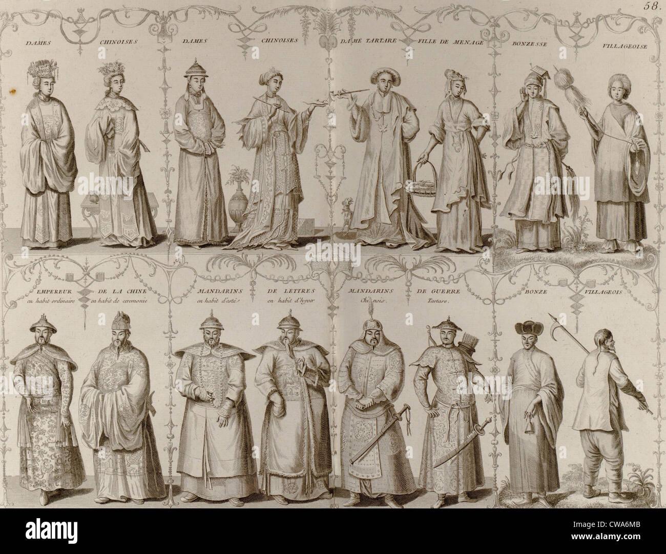 Grabado europeo del siglo XVIII representando chinos, hombres y mujeres de distintas clases sociales. Foto de stock