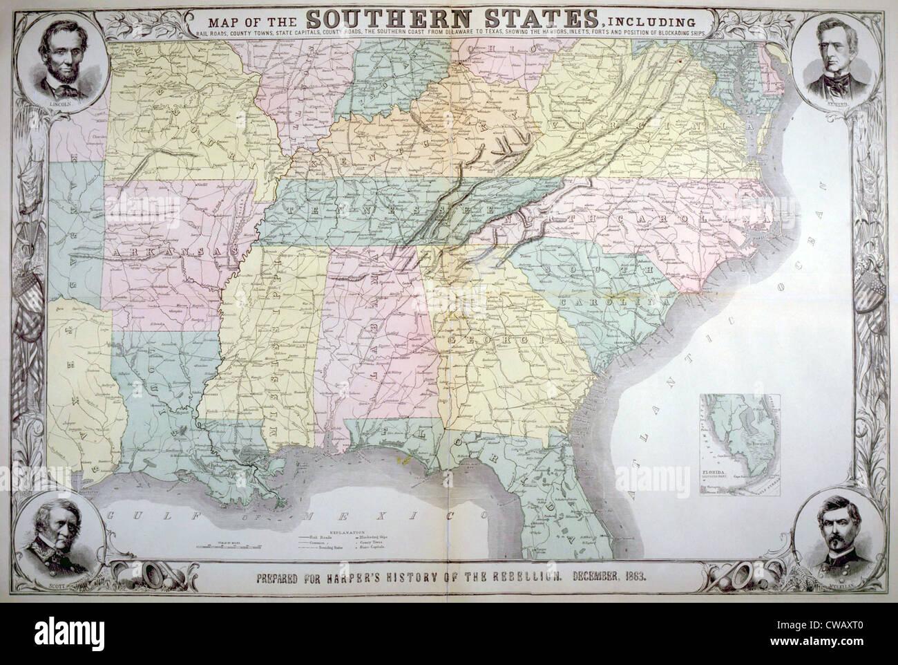 Mapa de los estados del sur publicado por Harper's pictórica de la historia de la Gran Rebelión, diciembre de 1863 Foto de stock