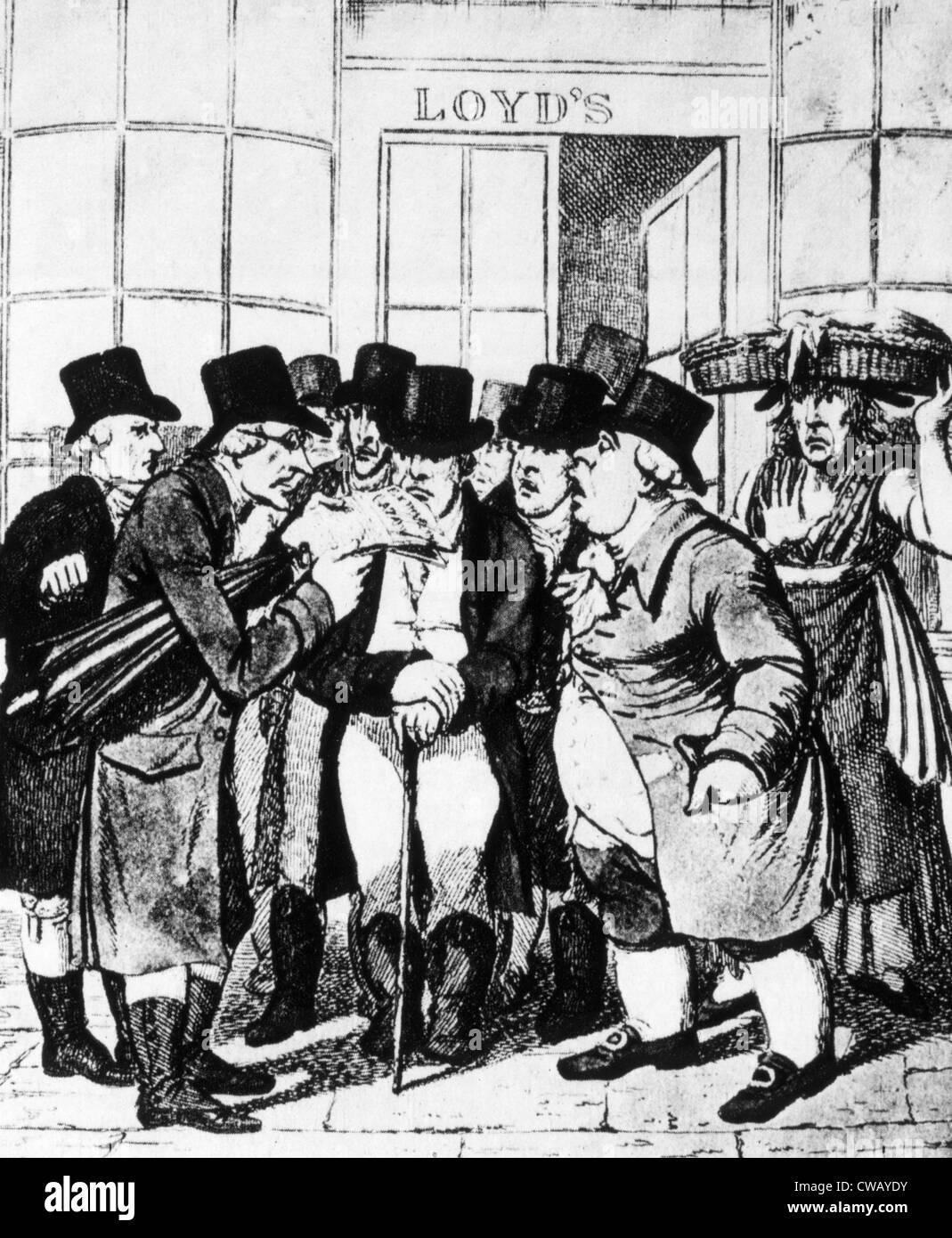 Underwriters delante de Lloyds de Londres del siglo XIX. Foto de stock