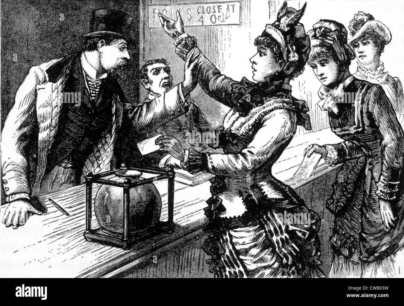 Una bandada de fuerte-mente las mujeres hacen una sensación en un lugar de votación uptown de Nueva York. Imagen De Stock