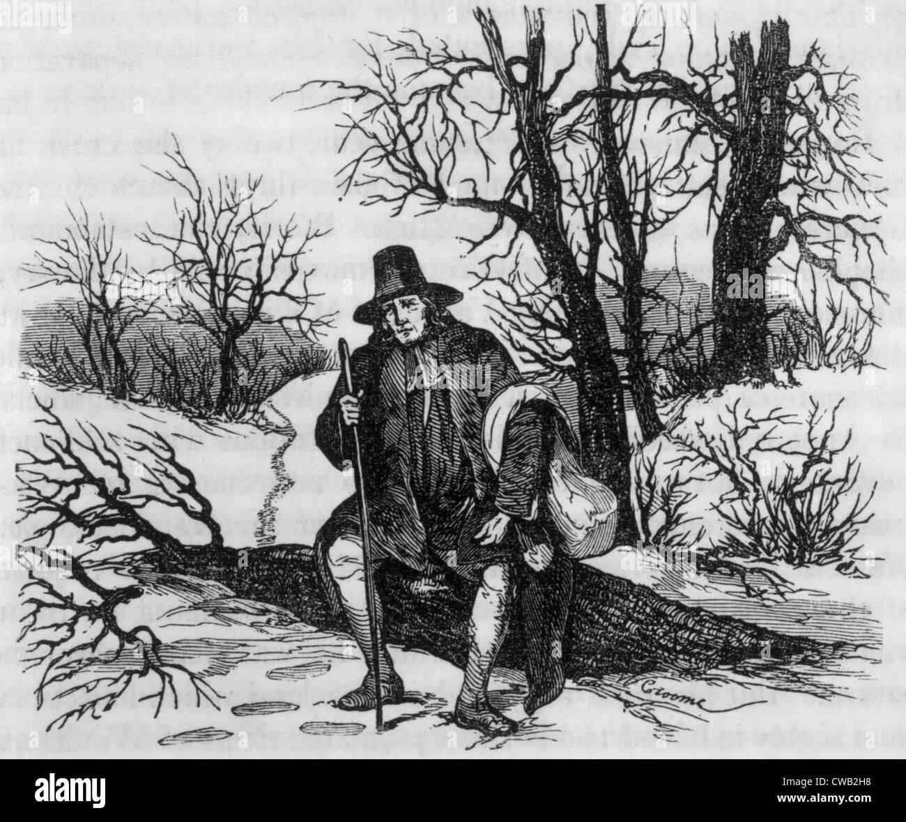 Roger Williams tras ser expulsado de la colonia de la Bahía de Massachusetts, 1635, grabado de 'la historia Imagen De Stock