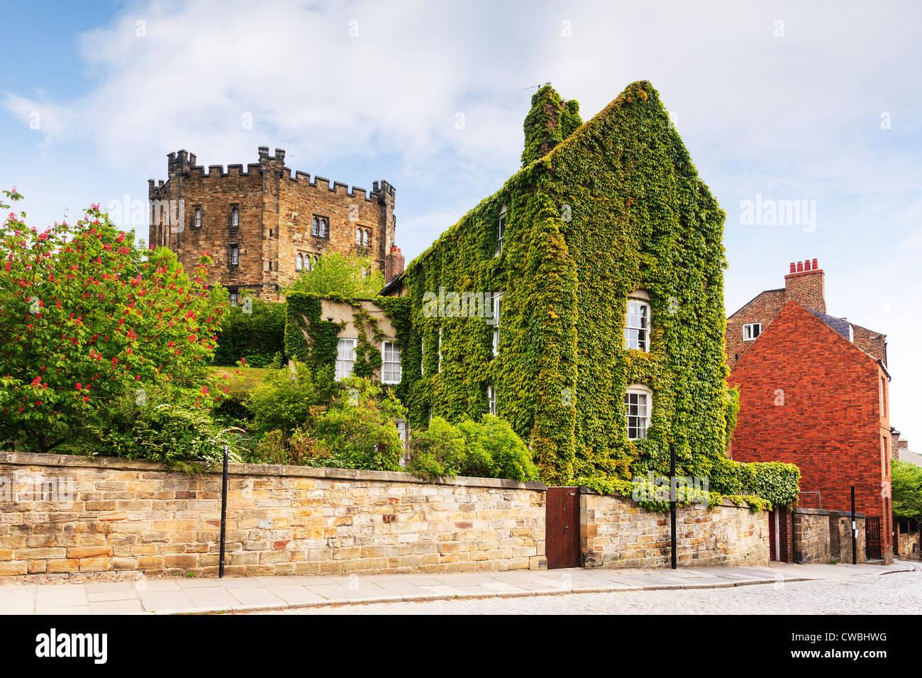 Una casa casi completamente cubiertos de Virginia reductor en el Cercano a la catedral de Durham y el castillo de Imagen De Stock