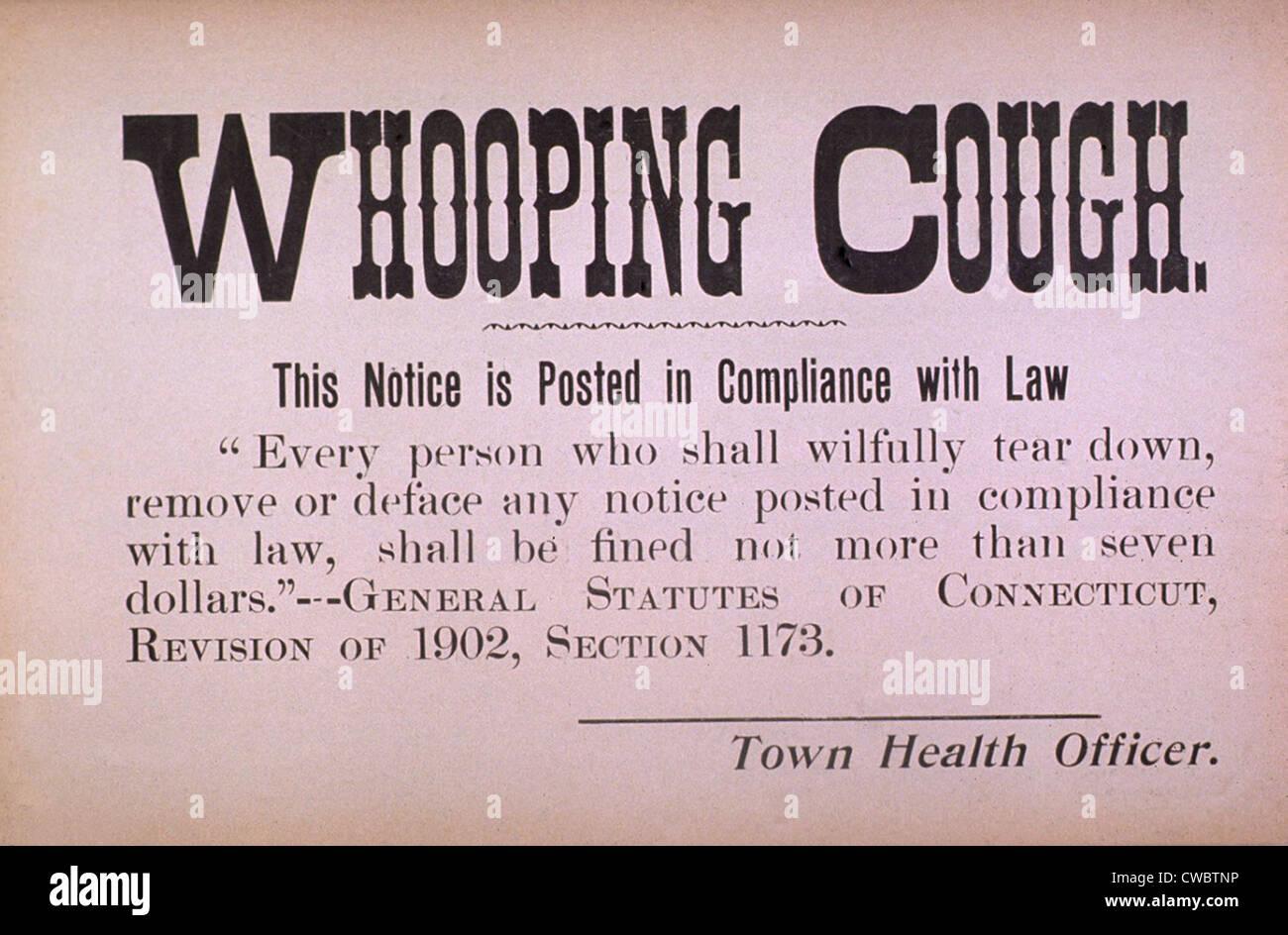 A principios del siglo XX, signo de cuarentena para la enfermedad contagiosa de tos ferina. Imagen De Stock
