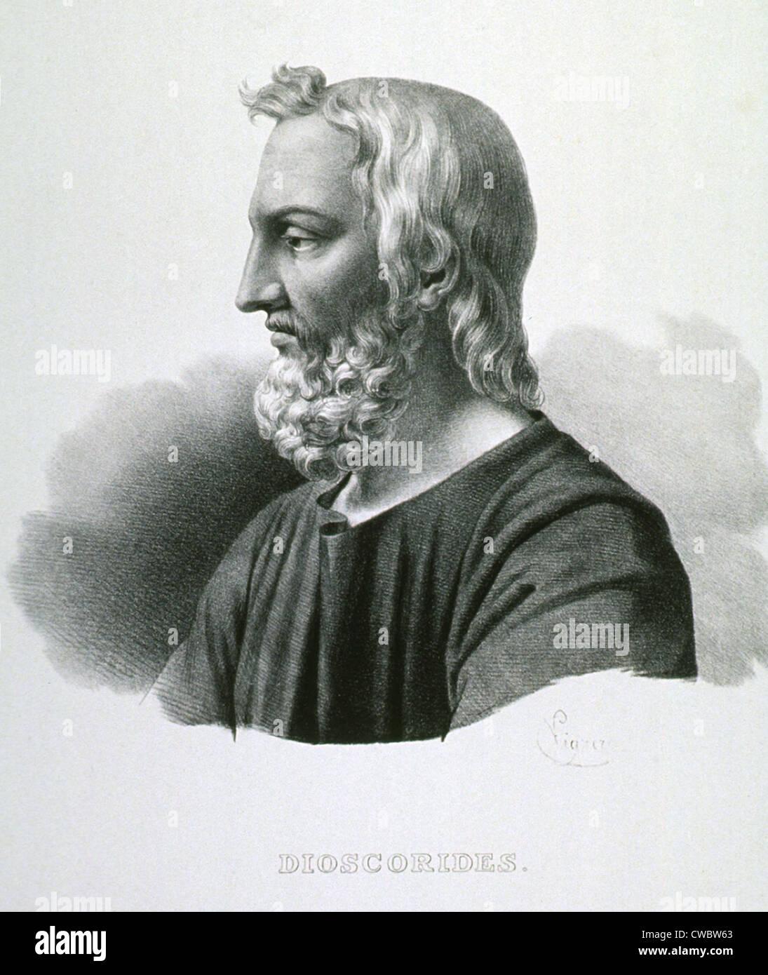 Pedanius Dioscórides (40-90 AD), farmacólogo y botánico griego, escribió DE MATERIA MEDICA (sobre cuestiones médicas), Foto de stock
