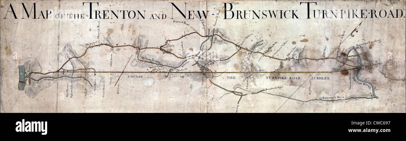 Un mapa de la Trenton y Nueva Brunswick Turnpike Road. ca. 1800 Foto de stock