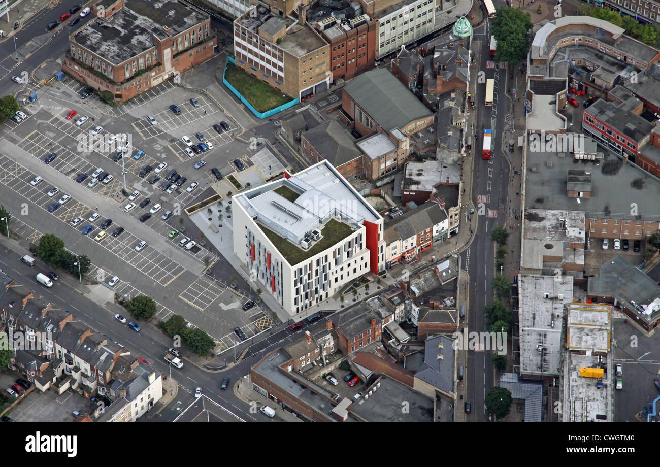 Vista aérea de la historia de la medicina, la calle del centro de salud de Wilberforce, Hull, East Yorkshire Imagen De Stock