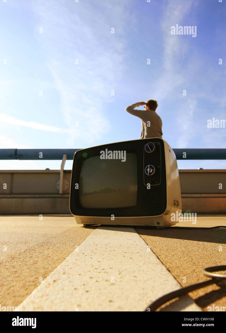 Viendo la tv,tv,humor,extraña,programa cultural Imagen De Stock
