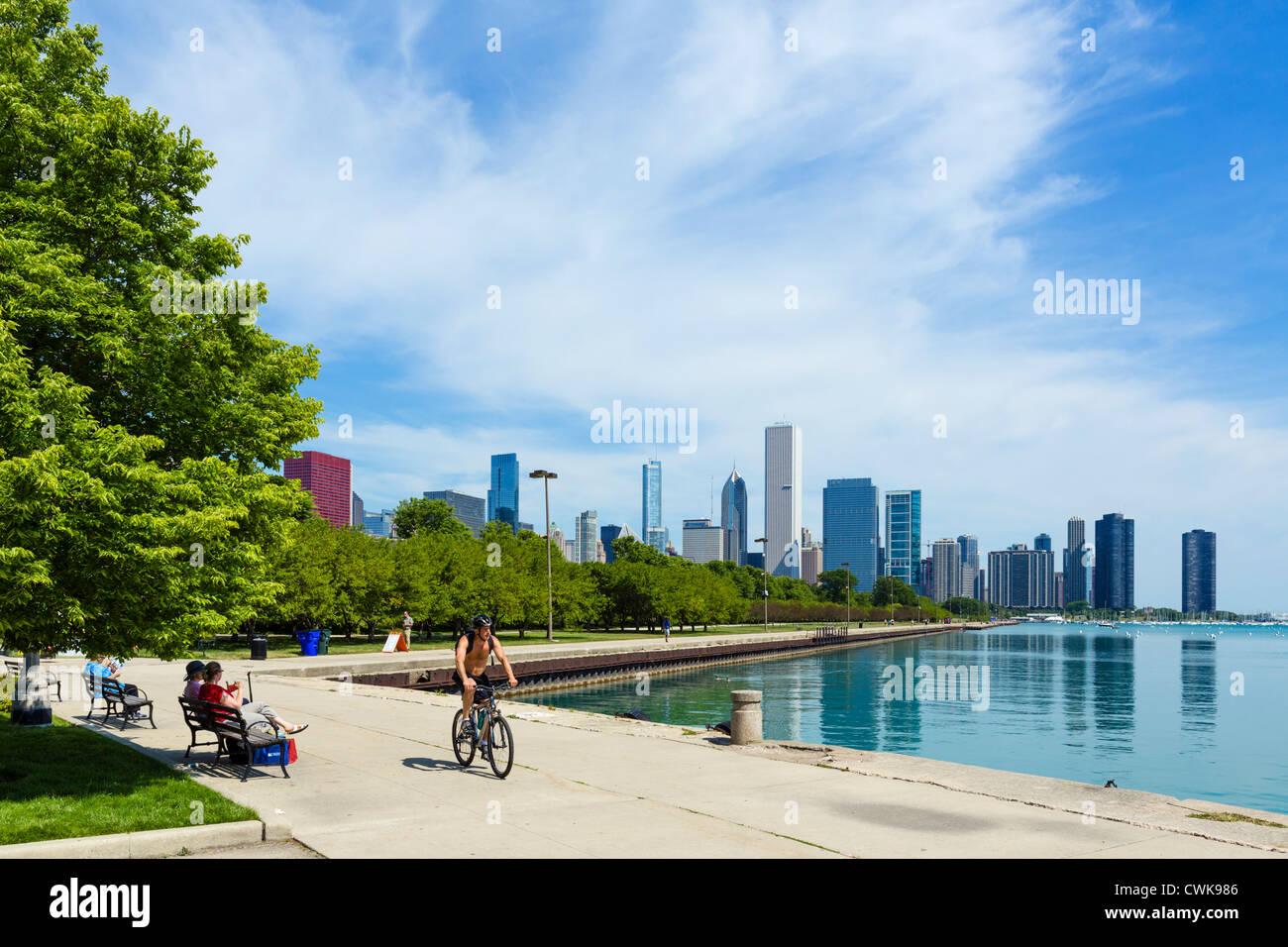 El horizonte de la ciudad de la orilla del lago en el Grant Park, Chicago, Illinois, EE.UU. Imagen De Stock