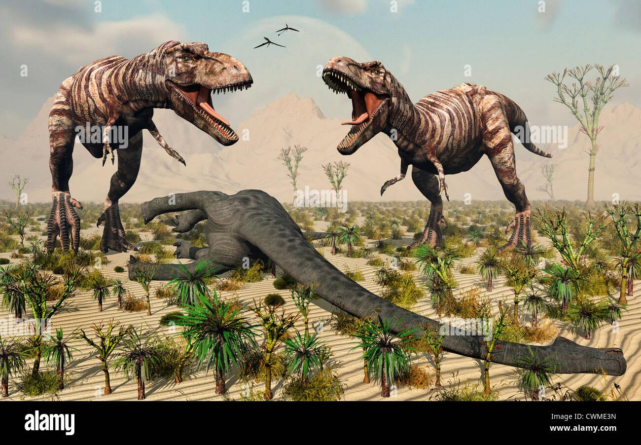 T.Rex enfrentamiento.2. Imagen De Stock
