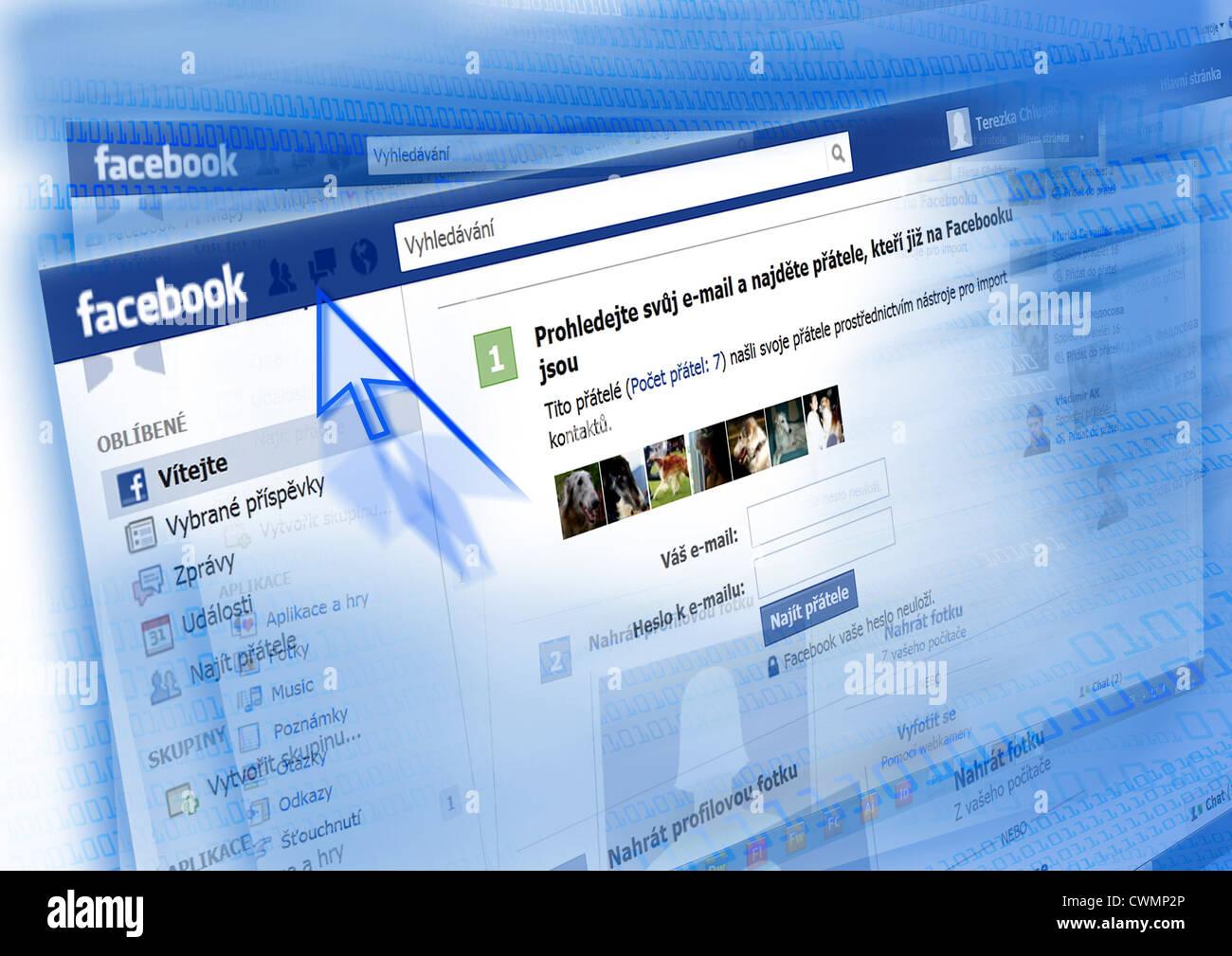 Facebook - Ceska verze / pantalla de facebook versión checa. Imagen De Stock