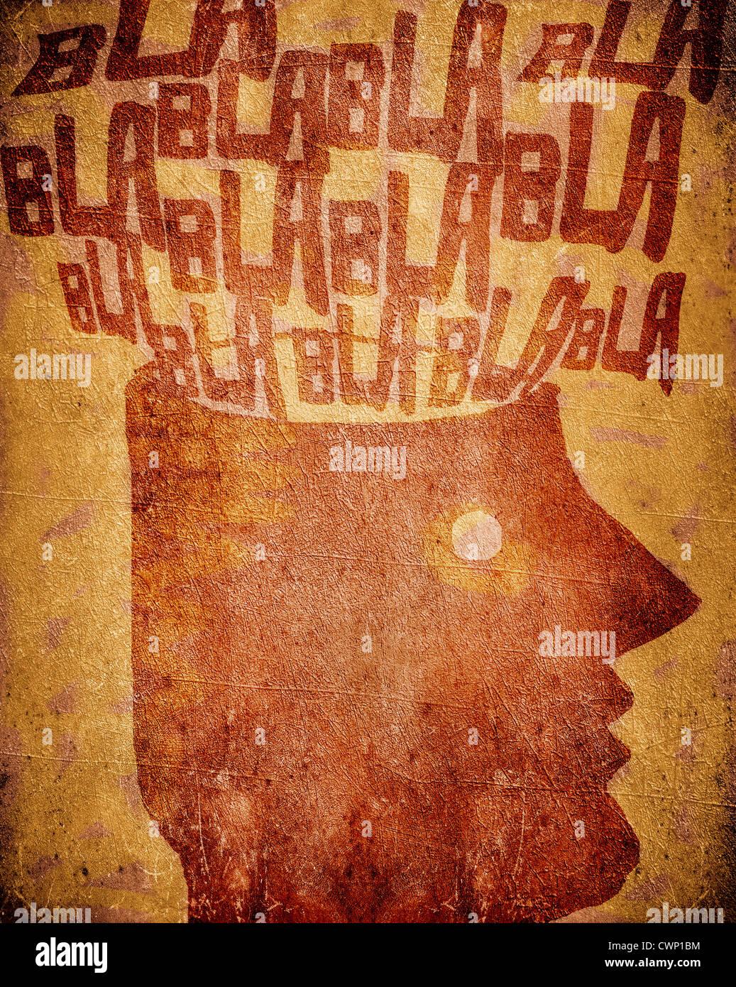 Hablar demasiado en la cabeza del hombre. Imagen De Stock